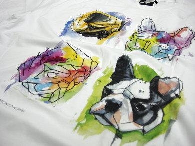 Druk cyfrowy DTG na koszulkach bawełnianych oversize dla kozackimops.pl
