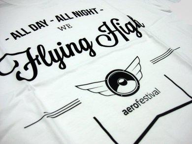 Sitodruk na koszulkach bawełnianych dla Aero Festival