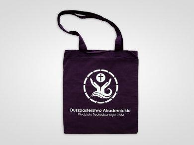 Folia Flex na fioletowych torbach bawełnianych dla Duszpasterstwa Akademickiego Wydziału Teologicznego UAM