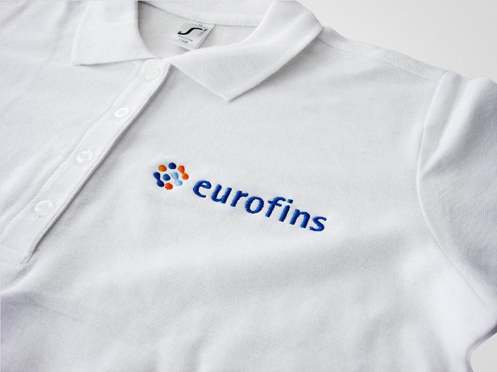Haft komputerowy na koszulkach polo dla Eurofins