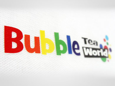 Flex Lateksowy na koszulkach dla Bubble Tea World