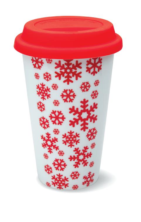 Ceramiczny kubek termiczny z motywem świątecznym